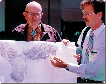Ed Davis with Elfred Lee in 1986. Artist Elfred Lee (right)